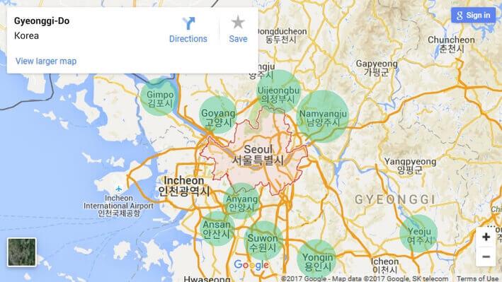Map of Gyeonggi-Do